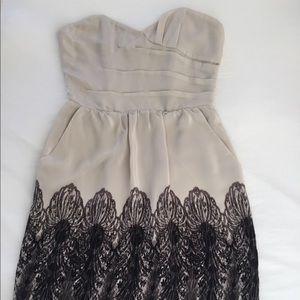 Gray & Black Silk Sweetheart Cocktail Dress